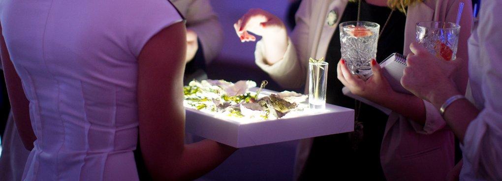 Restaurant and bar design awards led light sheet case for Canape trays uk